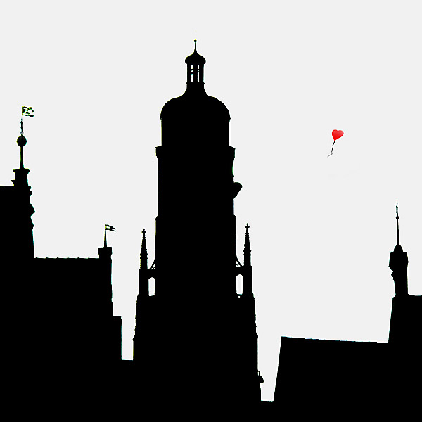 City silhouette with balloon